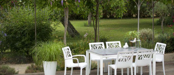 Sunset Gartensalon Tischplatte aus HPL   Grosfillex