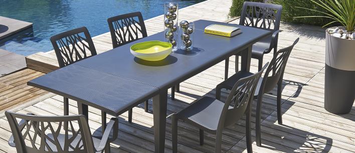 Table de jardin alpha 150 240 grosfillex - Table jardin moderne dijon ...